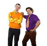 two young man in bright colour wear