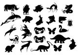 Animals cartoon silhouettes