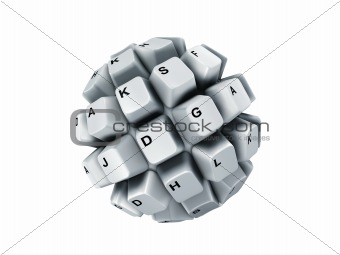 keyboard keys, over white, isolated