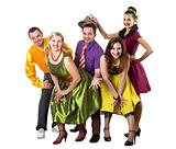 young dancing people in bright colour wear
