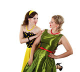 two young woman in bright colour dresses
