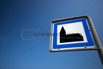 Church sign sky blue