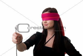 blindfolded woman network cable