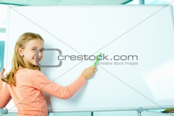 Girl by the whiteboard