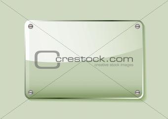 Green glass name tag