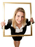 businesswoman in picture frame