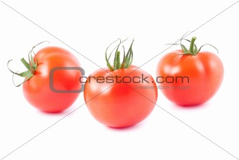Three fresh ripe tomatoes