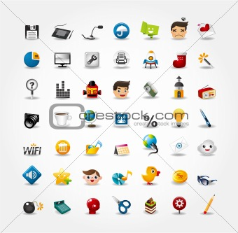 cartoon web icon set vector