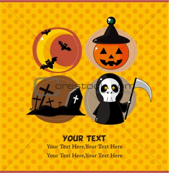 cartoon Halloween  party card