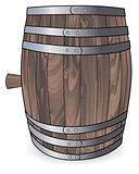 wooden barrel with metal hoops 