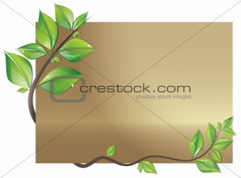 Card decorated with leaves