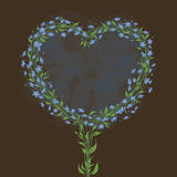 Greeting card with heart shaped floral frame. Forget-me-not.