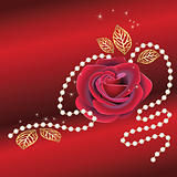Greeting card with red rose and pearls