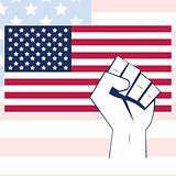 USA flag with fist