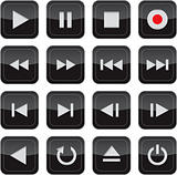 Multimedia control glossy icon set for web, applications,
