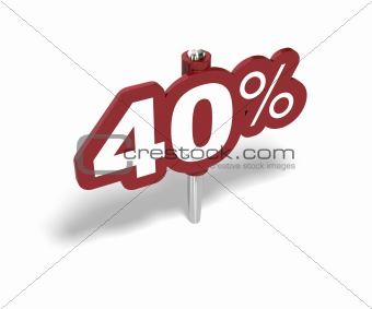 fourty percentage sign, 40 percent