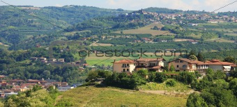 Houses on the hills of Piedmont, northern Italy.