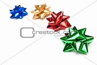 four colorful bows isolated on white background