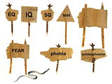 symbols of mental disorders on cardboard, isolated on white