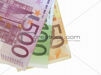 50,100,500 euro isolated on white background