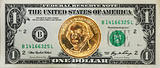 The United States $1 dollar bill with the George Washington dollar coin on the top