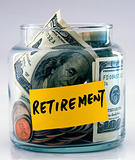 "A lot of money in a glass bottle labeled ""Retirement"""