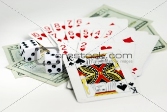 Gamble with playing cards and two dices