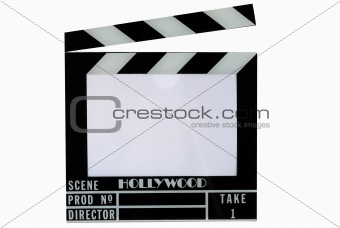A Hollywood movie clapper board (Clap slate), text in the clapper area