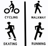 Four sport icons: cycling, walkway, skating, and running.  Isolated in white