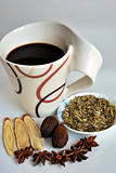 Healthy herbal tea made of spices such as anise stars