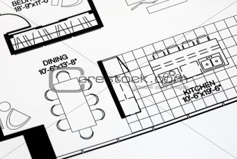 A floor plan focused on the kitchen and dinning room