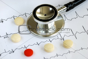 A stethoscope on the top of the EKG chart with pillsA stethoscope on the top of the EKG chart with pills