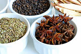 Various kinds of herbal spices such as anise stars