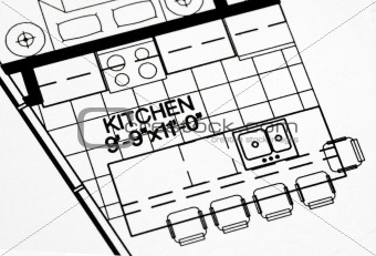 A floor plan focused on the kitchen and dinning area