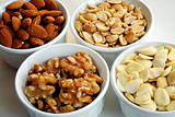 Different kinds of nuts like almonds, peanuts, etc.