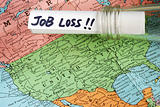 The job loss message in a bottle on the world map