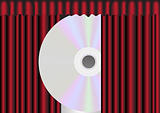 CD Disc behind Red Curtain