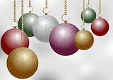 Christmas Balls on Silver Background