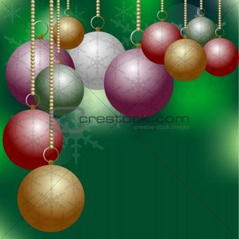 Christmas Balls on Green Background