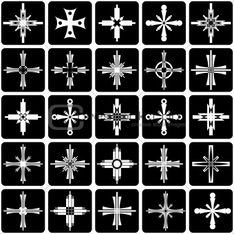 Graphic elements set. Abstract icons with crosses design.