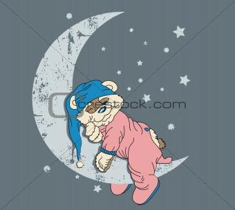 Bear sleeping on moon