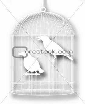 Caged birds cutout
