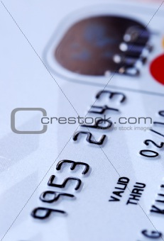 Close up view of a credit card