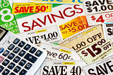 Calculate how much we save by clipping coupons