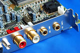 Close up view of a sound card isolated on blue