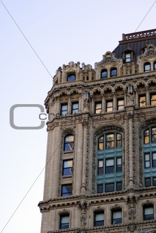 Façade of an old residential building in New York City