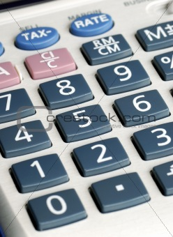 Close up view of an electronic calculator