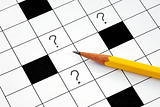 Crossword puzzle with many question marks concepts how to solve the problem