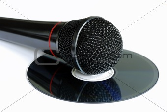 A microphone on a CD concepts Karaoke and piracyup view of the video line-in panel