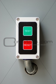 A control with the test and reset buttons